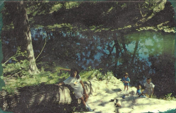With my children at my childhood ranch on the Sabinal River near Utopia Texas, 1980's