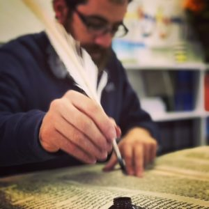 Sofer, writing with feather pen, JHD